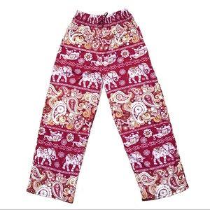 Pants - Bohemian Elephant Red High Rise Pants